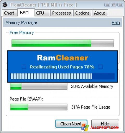 Skærmbillede RamCleaner Windows XP