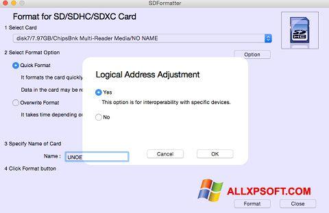 Skærmbillede SDFormatter Windows XP
