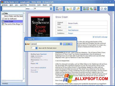 Skærmbillede All My Books Windows XP