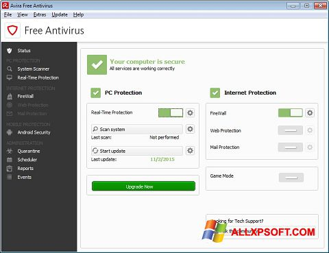 Skærmbillede Avira Free Antivirus Windows XP