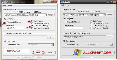 Skærmbillede PeToUSB Windows XP