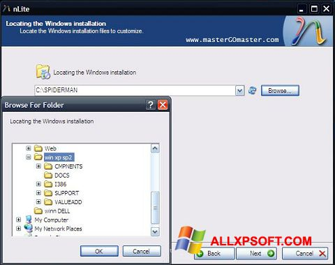 Skærmbillede nLite Windows XP