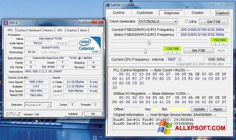 Skærmbillede SetFSB Windows XP