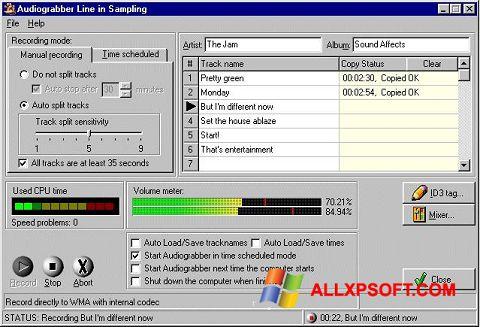 Skærmbillede Audiograbber Windows XP