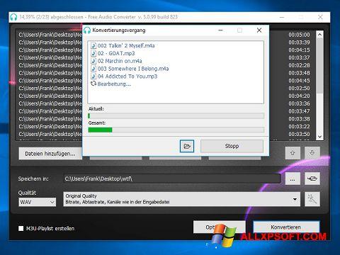 Skærmbillede Free Audio Converter Windows XP