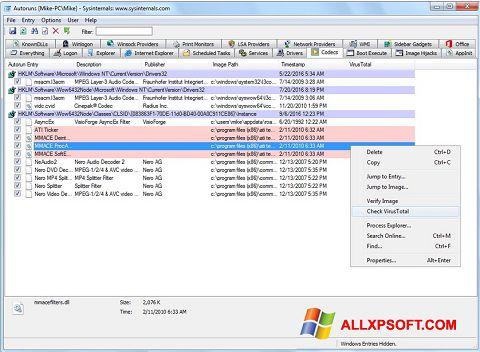 Skærmbillede AutoRuns Windows XP