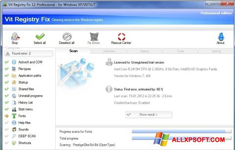 Skærmbillede Vit Registry Fix Windows XP