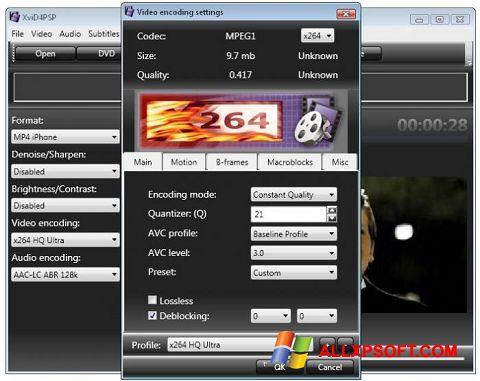 Skærmbillede XviD4PSP Windows XP