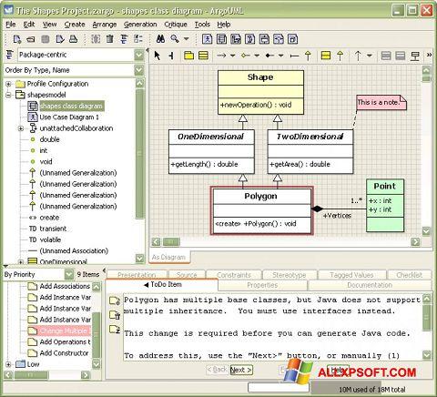 Skærmbillede ArgoUML Windows XP