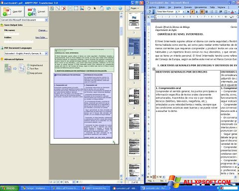 Skærmbillede ABBYY PDF Transformer Windows XP