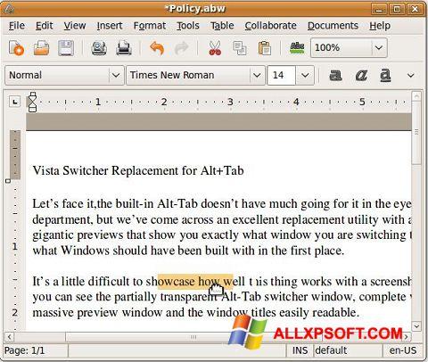 Skærmbillede AbiWord Windows XP