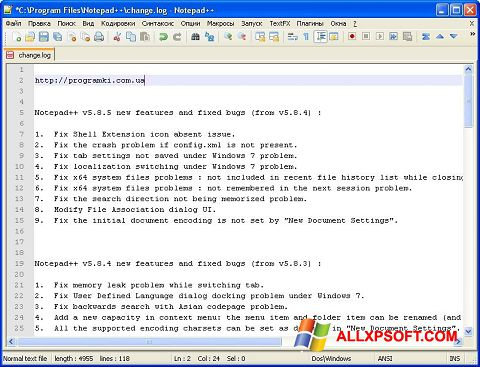 Skærmbillede Notepad++ Windows XP